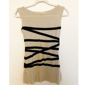 Forever 21 Dark Beige with Black Sleeveless Top